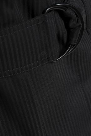 SANDRO Belted striped wool-twill mini skirt