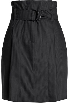 SANDRO Belted striped wool-twill mini skirt