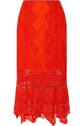JONATHAN SIMKHAI Open knit-trimmed lace midi skirt