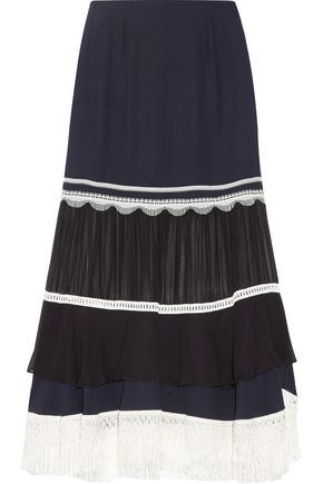 JONATHAN SIMKHAI Embellished paneled chiffon and silk-crepe midi skirt