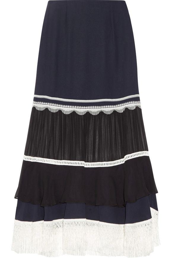 eb7c30411b4688 JONATHAN SIMKHAI Chiffon-paneled lace-trimmed silk-crepe midi skirt
