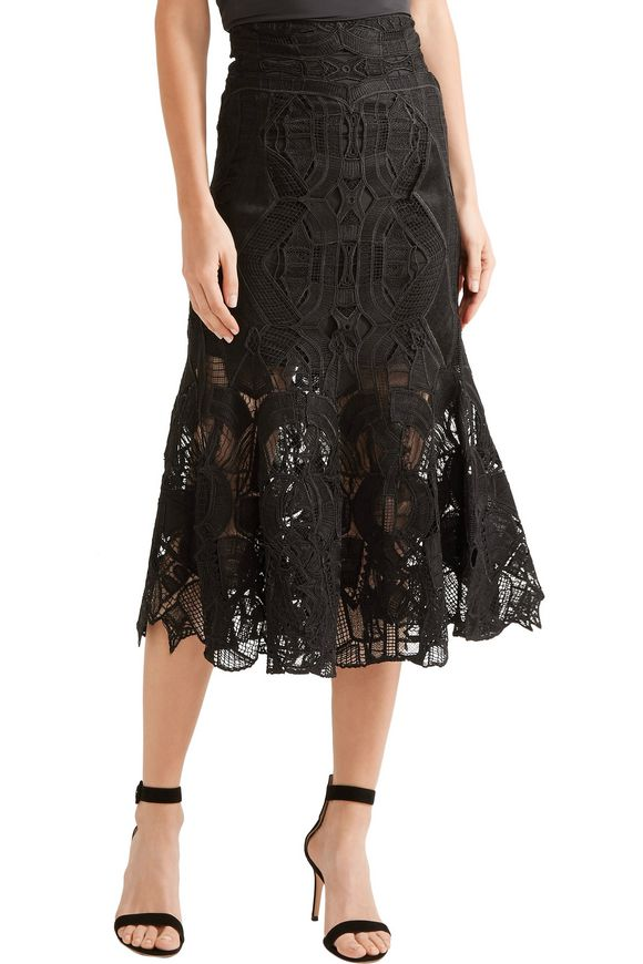 Fluted guipure lace midi skirt   JONATHAN SIMKHAI   Sale up to 70% off    THE OUTNET