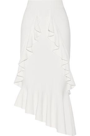 Asymmetric ruffled stretch-knit midi skirt