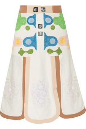 PETER PILOTTO Wool-trimmed embroidered crepe skirt