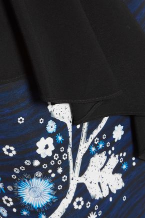 PETER PILOTTO Asymmetric ruffled printed cady skirt