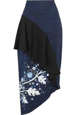 PETER PILOTTO Asymmetric ruffled printed cady skirt