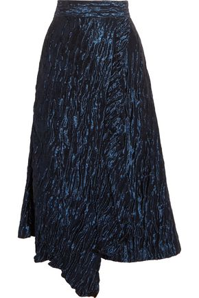PETER PILOTTO Ruffled asymmetric metallic jacquard skirt