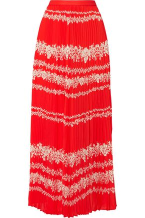 SELF-PORTRAIT Printed plissé-crepe maxi skirt