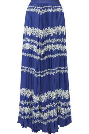 Printed plissé-crepe maxi skirt