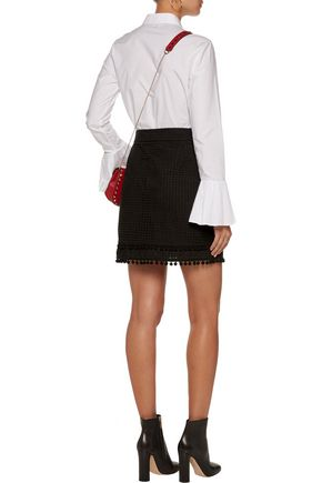 LOVE MOSCHINO Pompom-embellished broderie anglaise cotton mini skirt