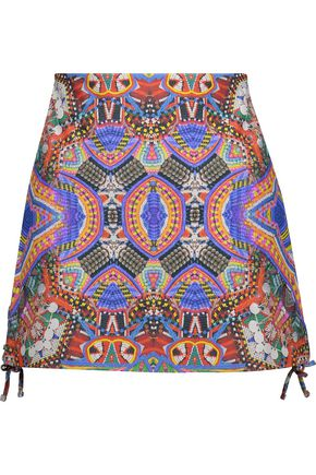 CAMILLA Lace-up printed leather mini skirt