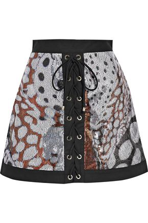 ROBERTO CAVALLI Stretch twill-trimmed sequined mesh mini skirt