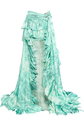 ROBERTO CAVALLI Printed ruffled ruched silk-satin maxi skirt