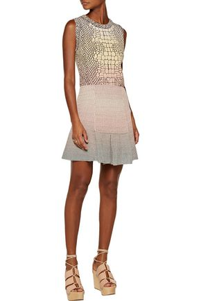 M MISSONI Pleated metallic stretch open-knit mini skirt