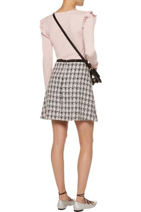 GIAMBA Checked bouclé-tweed mini skirt
