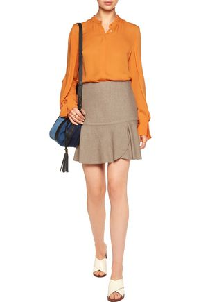 SEE BY CHLOÉ Pleated wrap-effect slub wool-blend mini skirt