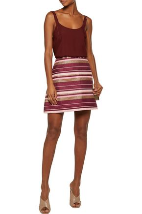 ZIMMERMANN Karmic metallic striped cotton-blend canvas mini skirt