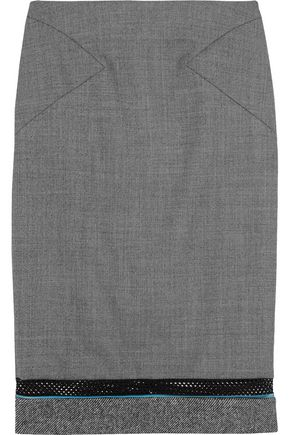 VIONNET Mesh and stretch silk satin-paneled wool skirt