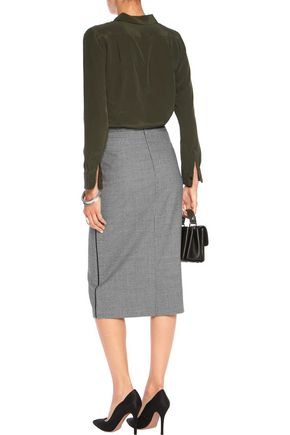 VIONNET Satin-trimmed houndstooth wool-blend pencil skirt