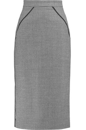 VIONNET Satin-trimmed houndstooth wool-blend pencil skirt