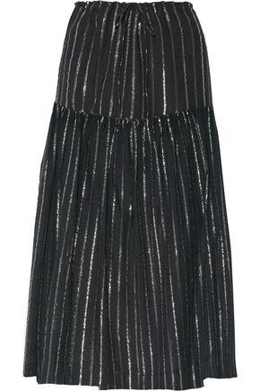 ISABEL MARANT ÉTOILE Metallic striped cotton-blend gauze midi skirt