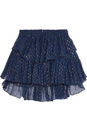 LOVESHACKFANCY Tiered metallic fil coupé and silk-chiffon mini skirt