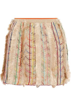 MISSONI Fringed metallic silk-blend crochet-knit mini skirt