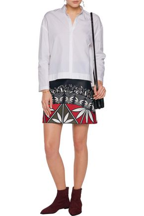 TORY BURCH Embroidered leather mini skirt