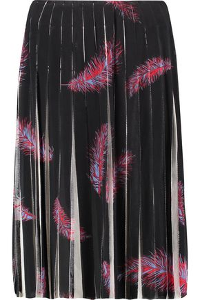 EMILIO PUCCI Pleated printed stretch silk-chiffon skirt
