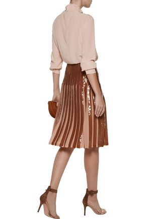 EMILIO PUCCI Metallic pleated sequined silk-georgette skirt