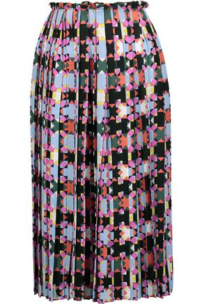EMILIO PUCCI Pleated printed silk-crepe skirt