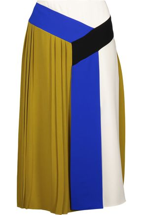 EMILIO PUCCI Color-block pleated crepe skirt
