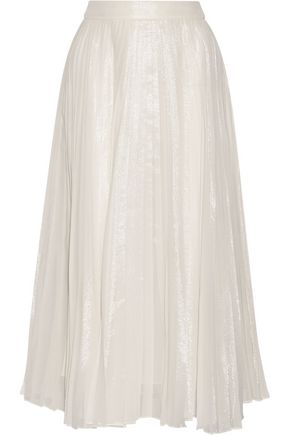 GUCCI Pleated silk-blend lamé midi skirt