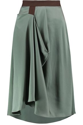 CHALAYAN Draped asymmetric crepe de chine skirt