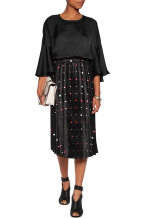 CHALAYAN Sunray pleated printed jacquard satin midi skirt