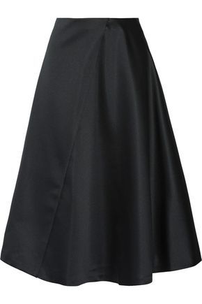 JIL SANDER Pleated satin midi skirt