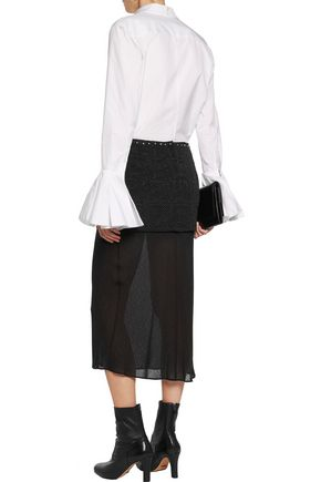 MAISON MARGIELA Layered studded cloqué and jacquard midi skirt