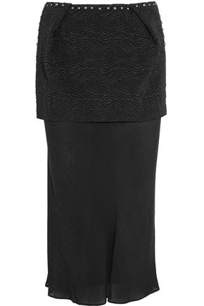 MAISON MARGIELA Layered studded cloqué and jacquard midi skirt
