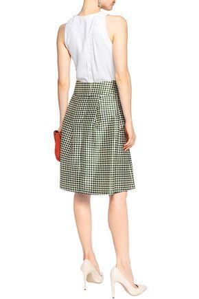 OSCAR DE LA RENTA Printed silk and cotton-blend skirt