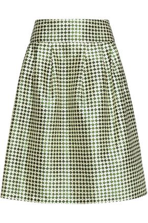 OSCAR DE LA RENTA Printed silk and cotton-blend skirt