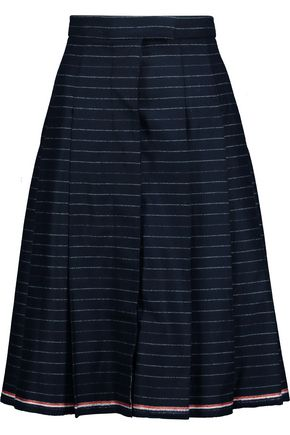 THOM BROWNE Pleated striped wool-twill skirt