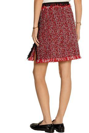 LANVIN Frayed cotton-blend tweed skirt