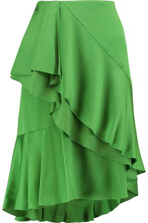 LANVIN Wrap-effect ruffled satin skirt