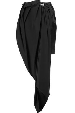LANVIN Draped asymmetric crystal-embellished crepe and satin skirt
