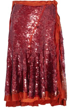 LANVIN Satin-trimmed sequined silk skirt
