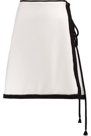 LANVIN Rope-trimmed wool mini wrap skirt