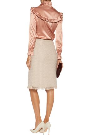 LANVIN Fringed wool-blend tweed skirt
