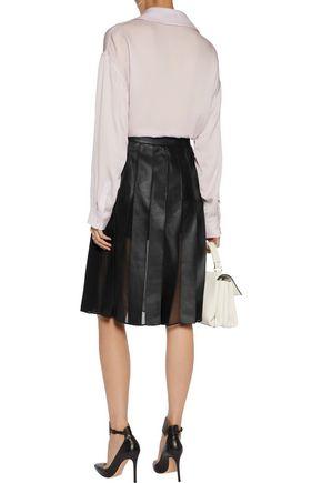DIANE VON FURSTENBERG Melita leather and chiffon-paneled skirt