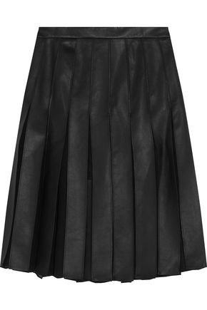 DIANE VON FURSTENBERG Melita leather and chiffon-paneled skirt