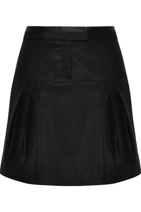 ROBERTO CAVALLI Silk satin-trimmed pleated wool-blend canvas mini skirt